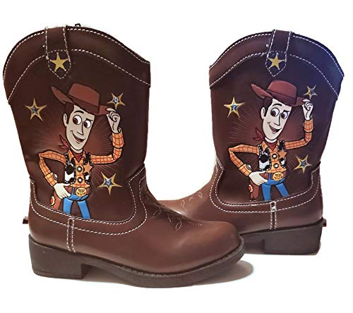 Disney Pixar Toy Story Toddler Boys Light Up Woody Cowboy Boots (Toddler/Little Kid, Size 8) Brown