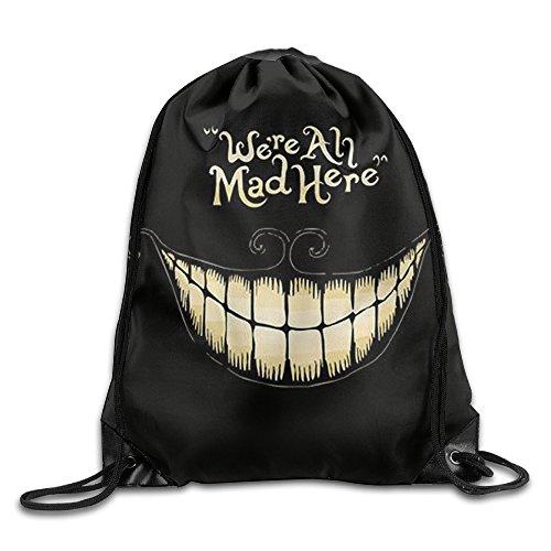 We're All Mad Here Drawstring Backpack Women Canvas Shoulder Bag Gym Sports Sackpack