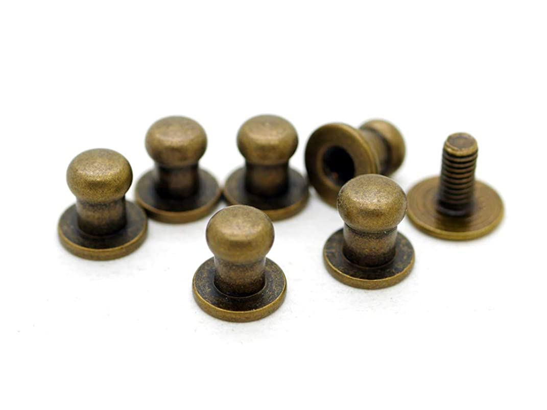 CRAFTMEmore 5MM Ball Head Stud Screw Back Nipple Rivet Studs Button Strap Stopper Leathercraft 20 Pack (Antique Brass)