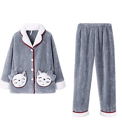 FHISD Pijamas para Mujer, Ropa de Dormir con Botones para Mujer, Conjuntos de Pijamas Suaves para salón, Conjunto de Pijamas de Lana para Mujer, Pijamas cálidos grues