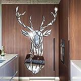 Pegatina Vinilo Adhesivo con Efecto Espejo Forma Cabeza de Ciervo Decorativo de Pared ,Mural Espejo DIY Arte de Decorativo de hogar Contiene Varias Piezas (72 x 43 cm)