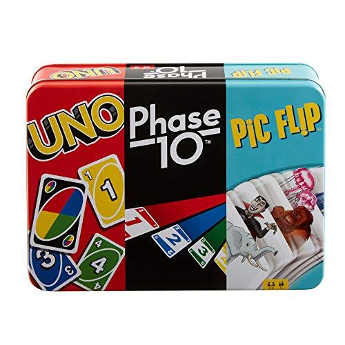 Mattel Games GWP96 - UNO, Phase 10 und Pic Flip-Sammeldose, Kartenspielsammlung ab 7 Jahren