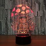 Casa de setas de dibujos animados 3D Led Nightlight Usb 7 Cambio de color 3D Ilusión Lámpara de mesa Lámpara para dormir para bebés