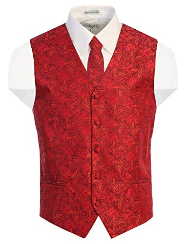 Gioberti Men's Formal 4pc Paisley Vest Necktie Bowtie and Pocket Square, Red, Large