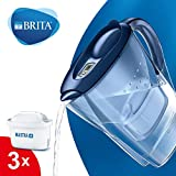 BRITA Marella Fridge water filter jug for reduction of chlorine, limescale and impuities, Blue, Includes 3 x MAXTRA+ filter cartridges, 2.4L