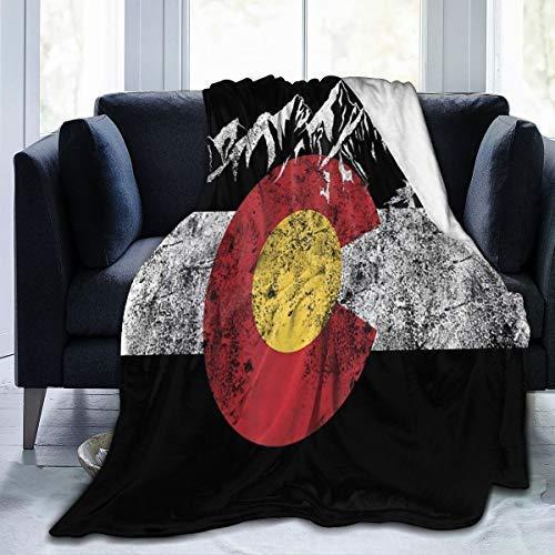 Manta de tela vintage de la bandera de Colorado para todas las estaciones, cómoda manta de sofá sherpa de franela ligera de forro polar para sofá de coche