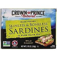 Crown Prince Natural 皮と骨なしサーディン ピュアオリーブオイル漬け 3 75オンス 106 g