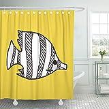 lovedomi Cortina de ducha para acuario, diseño de ángel amarillo, peces tropicales, animales acuáticos, creativos, con 12 ganchos de 172 x 172 cm, impermeable, tejido de poliéster
