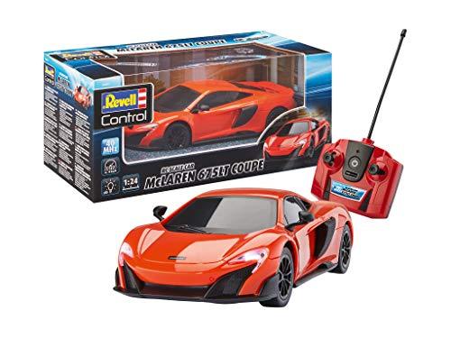 Revell Control 24661 RC Scale Car 1:24 McLAREN 675LT Coupe, 40MHz, originalgetreue Karosserie, Fahrlicht ferngesteuertes Auto, rot-orange, 19 cm