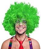 Balinco 280g XXL Afro PERÜCKE Lockenkopf Wig Black Afroperücke Lockenperücke Fasching Karneval schwarz, weiß, blond, rot, türkis, grün, pink (Grün)