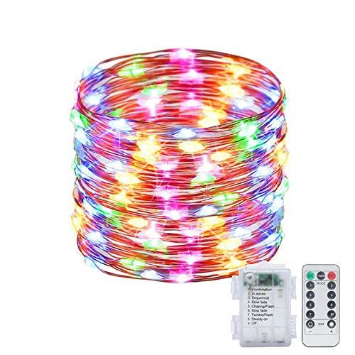Fairy Lights 10M 100 LED Luces de Navidad con pilas con control remoto y temporizador Impermeable 8 modos de alambre de cobre Cadena de luces para fiestas, bodas, patio (multicolor)