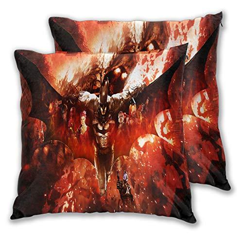 Juego de 2 fundas de almohada para niños, espantapájaros Batman Arkham Knight para sofá, cama, silla, decorativa, 50 x 50 cm