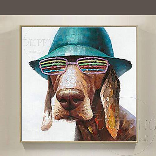 ZHUAIBA Ölgemälde Künstler-Entwurf lustiger Hund mit Hut und buntem Glas-Ölgemälde aufhandgemaltem modernemKunst-lustigem Hundeölgemälde 50x50CM