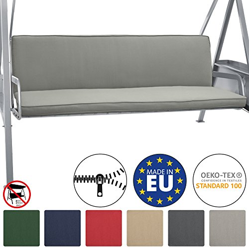 Beautissu Hollywoodschaukel Auflage Loft HS 180x50cm Auflagen für 3-Sitzer Hollywoodschaukel mit Rücken-Kissen Hellgrau erhältlich