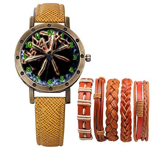 Meisjes Merk Retro Brons Vintage Lederen Band Dames Meisje Quartz Horloge Armband 6 Sets Abstract Bloemen 354.Mat Ster Anijs Keuken Kruiden Saus Anijs