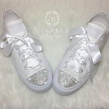 CUSTOM Wedding Shoe Bling Chucks Swarovski Wedding Shoes Custom Glitter  Sparkle All Stars with Crystals for 1e951efe2