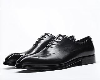 CAIFENG Chaussures de Dentelle de Dentelle de Derbie Officielle pour Hommes Oxford en Cuir véritable en Cuir véritable en ...