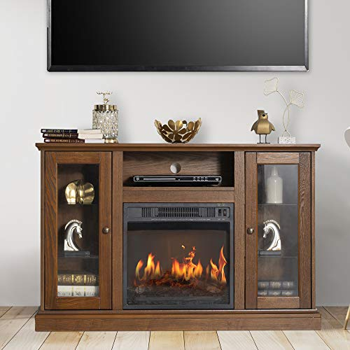 """GOOD & GRACIOUS Electric Fireplace TV Stand, Fit up to 50"""" Flat Screen TV with Two Cabinet and Four Adjustable Tempered Glass Shelves Entertainment Center for Living Room, Espresso"""