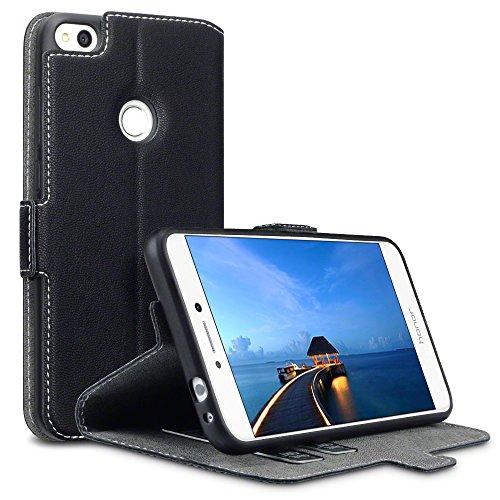 TERRAPIN Huawei P8 Lite 2017 Cover, Cover di Pelle con Funzione di Appoggio Posteriore per Huawei P8 Lite 2017 Custodia Pelle, Colore: Nero