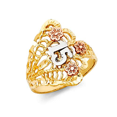 14k Yellow Gold White Gold and Rose Gold Quinceanera Sweet 15 Years Ring Size 7 Jewelry Gifts for Women