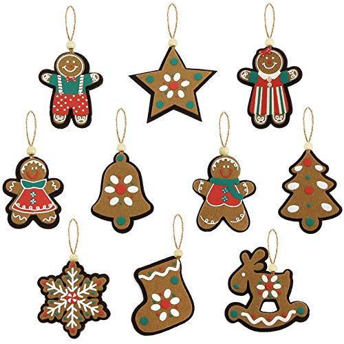 Athoinsu 10pcs Vintage Assorted Christmas Tree Decorations Cloth Gingerbread Snowflake Star Xmas Tree Stocking Bell Elk Hanging Home Ornaments Holiday Party Seasonal Decor Sets of 10 PCS(Style 1)