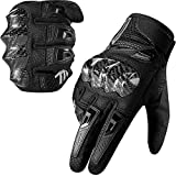 MADBIKE Motorcycle Gloves for Men Women Carbon Fiber Hard Knuckle Touchscreen Fit Dirt Mountain Bike Motocross(Black,Large)