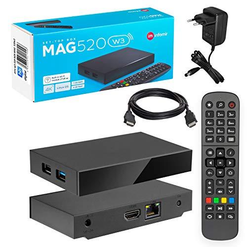 MAG 520w3 Original Infomir & HB-DIGITAL 4K IPTV Set TOP Box Reproductor Multimedia Internet TV Receptor IP # 4K UHD 60FPS 2160p@60 FPS HDMI 2.0# Soporte HEVC H.256 # ARM Cortex-A53 + Cable HDMI