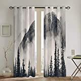 xiaolang Rideaux, Canadian Smokey Mountain Cliff Outdoors Idyllic Scenery Photo Artwork, 2 Panel Set Living Room Blackout Window Drapes104in x84in (260cm x210cm)