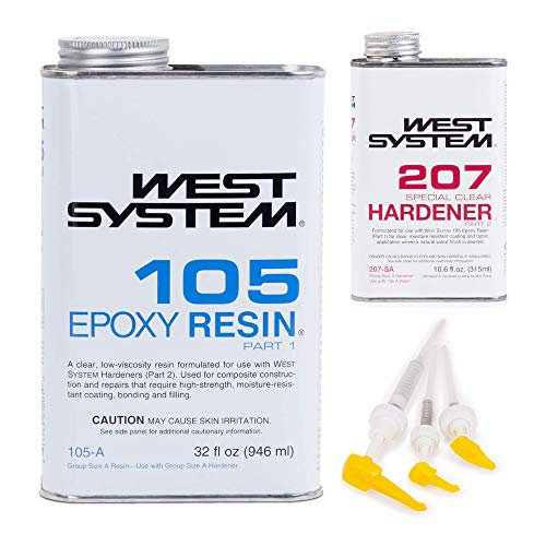West System 105A Epoxy Resin (32 fl oz) Bundle with 207SA Special Clear Epoxy Hardener (10.6 fl oz) and 300 Mini Pumps Epoxy Metering 3-Pack Pump Set (3 Items)