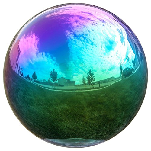 Lily's Home Gazing Globe Mirror Ball in Rainbow Stainless Steel. (8 Inch)