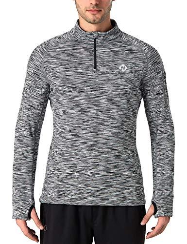 Naviskin Men's 1/4 Zip Pullover Thermal Thumbholes Running Long Sleeve Shirts Workout Outdoor Tops Grey Size M