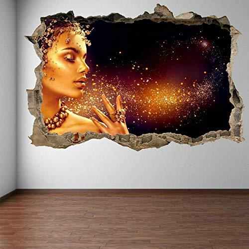 Wandtattoo Gold Makeup Model Hair Beauty Salon Wandkunst Aufkleber Wandtattoo Mode