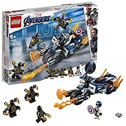 Features a minifigure cockpit, 2 shield shooters, detachable non-shooting blasters, fold-down bike stand and an exhaust flame element Detach the blasters and put them in Captain America's hands Includes 4 Marvel Universe minifigures: Captain America ...