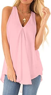 kolila 2019 Women's Summer Chiffon Layered Cami Tank Tops Loose Fit Casual Blouses V-Neck Sleeveless Pleated High Low Loose