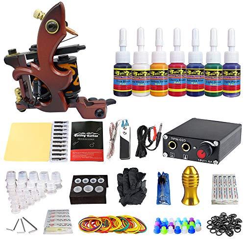 Solong Tattoo® Complete Professional Tattoo Kit 1 Machine Gun 7 Color Inks...