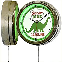 Sinclair Dino Dinosaur 15 Green Neon Light Wall Clock with Vintage Tin Metal Gasoline and Oil Sign Dial Face