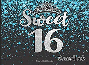 Sweet 16 Birthday Guest Book: Perfect gift for a 16th birthday party! Silver and Blue Sequins