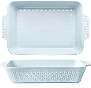 Bakeware Home Ceramic Large Baking Binaural Rectangular Microwave Oven Baked Rice Tray Baking Tray Are Suitable For The Ov...