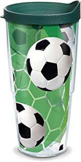 Tervis 1139506 Soccer Balls - Turf Background Tumbler with Wrap and Hunter Green Lid 24oz, Clear