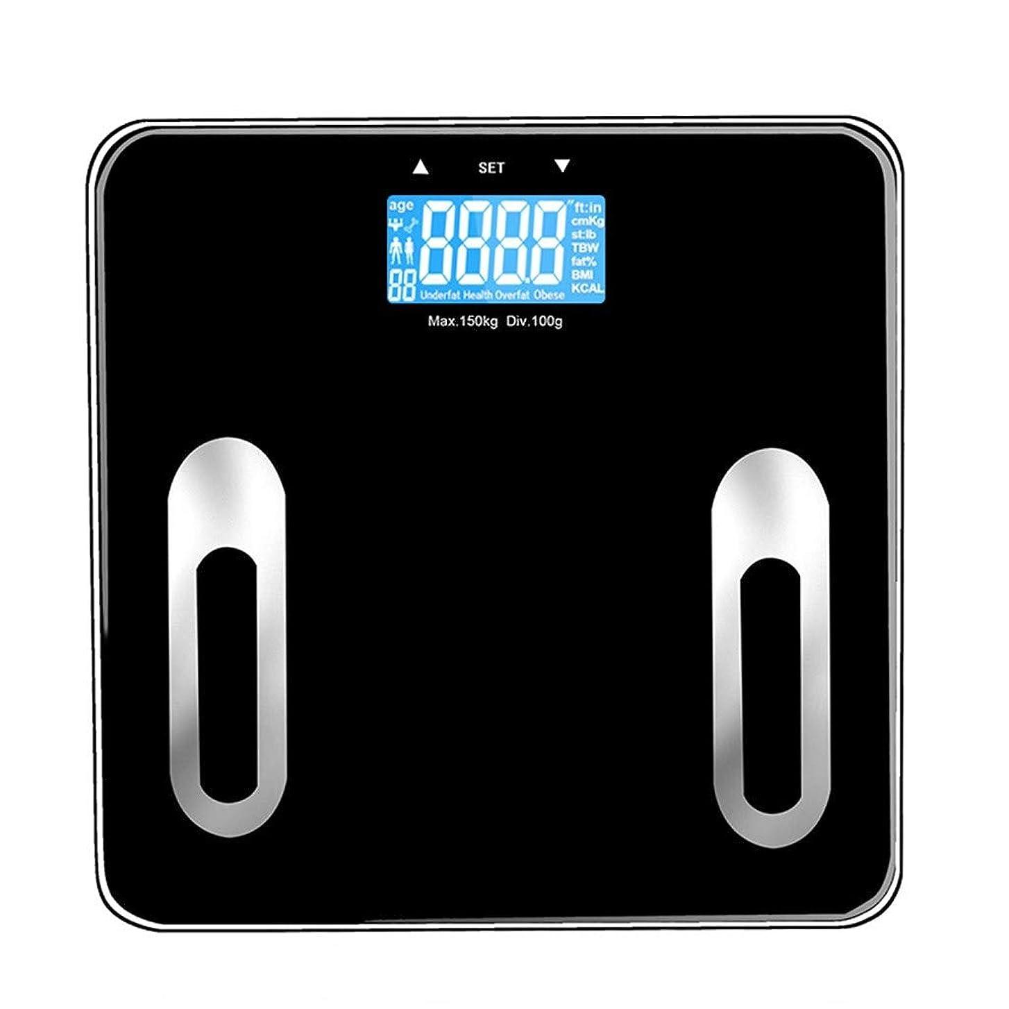 意識スキャンダルシャンプーデジタル体重計高精度大人の健康な失う体重浴室スケール体脂肪スケール180キログラム容量スマートタッチスクリーンブラック
