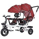 LINZI Trikes Kids 4 en 1 Triciclo para niños Triciclo para niños Asientos Doble para Gemelos, bebé Infantil 3 Ruedas Cochecito Bicicleta con Dosel y Cesta (Color: D)