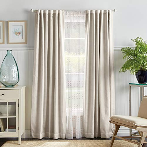 "MARTHA STEWART Bedford Woven Plaid Blackout Back Tab Window Curtain Panel Pair, 84"", White"