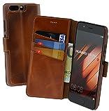 Suncase Book-Style (Slim-Fit) für Huawei P10 PLUS Ledertasche Leder Tasche Handytasche Schutzhülle Hülle Hülle (mit Standfunktion & Kartenfach) burned - cognac