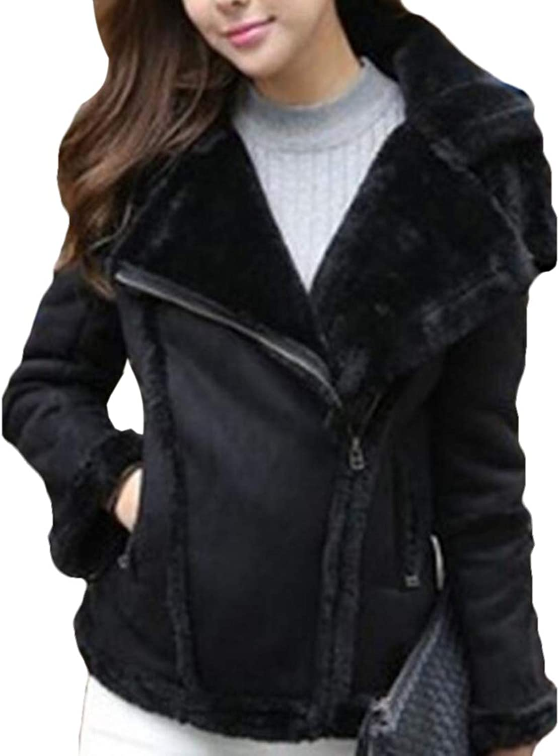 CRYYU Women Winter Thicken Warm Stand Collar Faux Suede Jacket