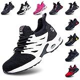 Zapatos de Seguridad Hombre Mujer Ligeros Zapatillas de Trabajo Calzado con Punta de Acero Deportivo Comodo Unisex Negro Blanca 43