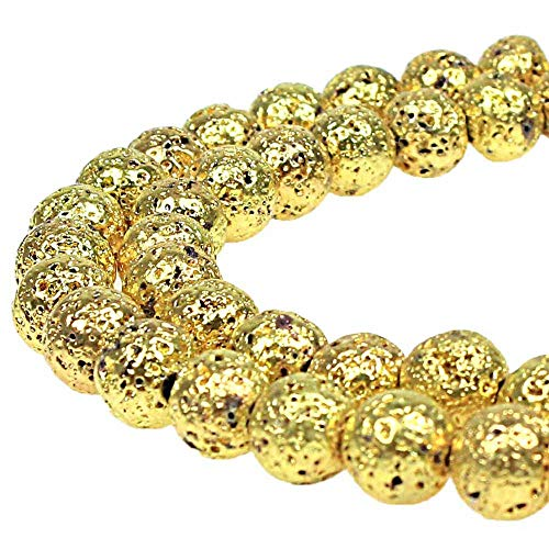 MJDCB Electroplate Gold Color Natural Volcanic Lava Stone Round Loose Stone Beads DIY for Jewelry Bracelet Making (8mm)