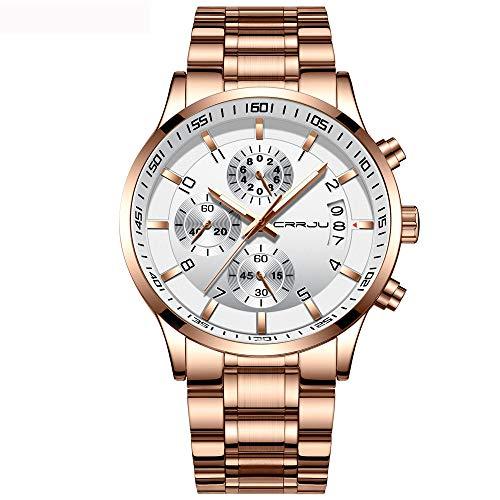 CRRJU - Reloj de Pulsera para Hombre, cronógrafo Multifuncional, Correa de Acero Inoxidable, Resistente al Agua