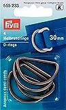 PRYM 555233 D-Ringe 30mm altsilberfarbig, 4 Stück