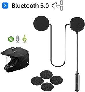Motorcycle Helmet Bluetooth Headset,Bluetooth 5.0,Waterproof Motorcycle intercom headset,Speakers Hands free,Music call control,Automatic answering,20 hours playing time High Sound Quality System