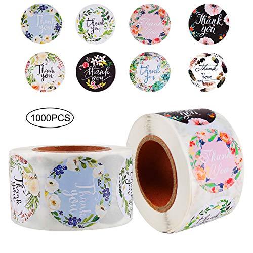Meowoo Naklejki Thank You 1000 szt., 3,5 cala, 8 wzorów, rolka z naklejką z podziękowaniem, dziękujemy za zamówienie naklejki etykiety dla ręcznie wykonanych towarów mała firma właściciele